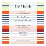 "Bat Mitzvah - Stripes, Lines - Yellow Blue Orange 5.25"" Square Invitation Card"