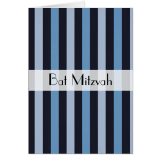 Bat Mitzvah - Stripes (Parallel Lines) - Blue Greeting Card