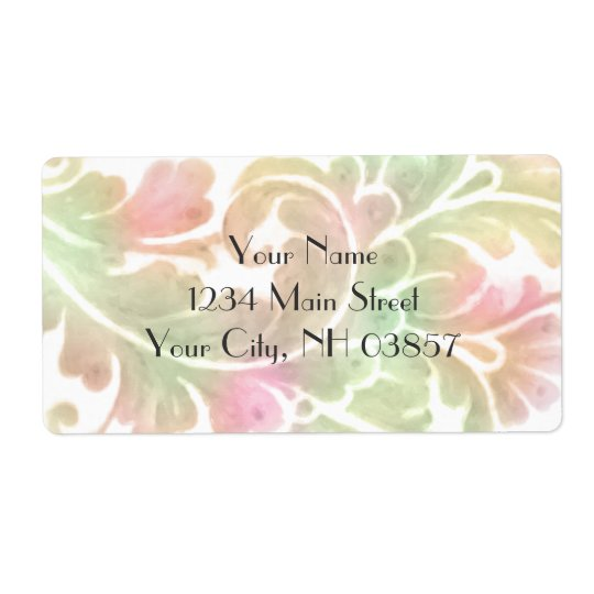 Bat Mitzvah Stylish Pink and Green Watercolor Label