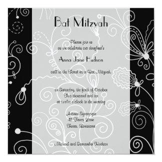 Bat Mitzvah - Swirled Pattern, Swirls - Black Card