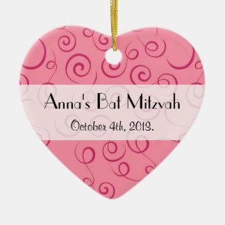 Bat Mitzvah - Swirled Pattern, Swirly Style - Pink Ceramic Ornament