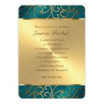 Bat Mitzvah Teal and Gold Filigree Swirls Personalized Invite