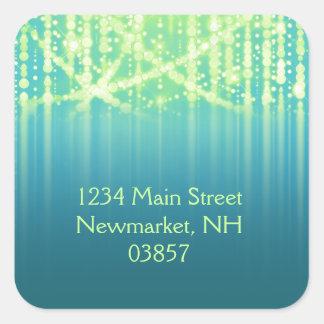 Bat Mitzvah Teal Blue Lime Green Sparkly Lights Square Sticker