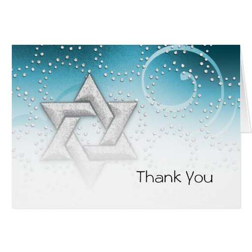 Bat Mitzvah Teal Shimmer Star of David Greeting Card