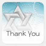 Bat Mitzvah Teal Shimmer Star of David Square Sticker