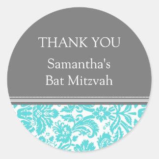 Bat Mitzvah Thank You Custom Name Favor Tags Aqua Classic Round Sticker