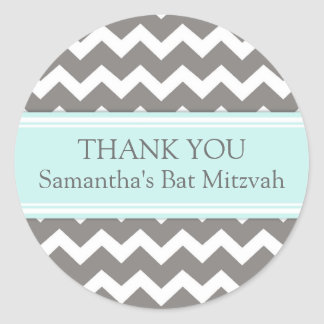 Bat Mitzvah Thank You Custom Name Favor Tags Blue Classic Round Sticker