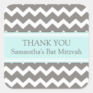 Bat Mitzvah Thank You Custom Name Favor Tags Blue Square Sticker