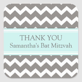 Bat Mitzvah Thank You Custom Name Favor Tags Blue Square Sticker