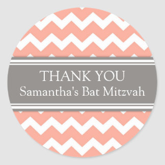 Bat Mitzvah Thank You Custom Name Favor Tags Coral Classic Round Sticker