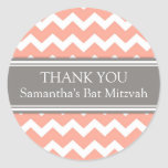 Bat Mitzvah Thank You Custom Name Favor Tags Coral Round Sticker