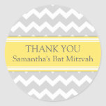 Bat Mitzvah Thank You Custom Name Favor Tags Lemon Round Stickers