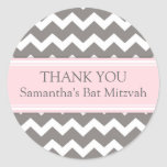 Bat Mitzvah Thank You Custom Name Favor Tags Pink Round Stickers