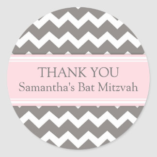 Bat Mitzvah Thank You Custom Name Favor Tags Pink Classic Round Sticker