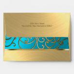 Bat Mitzvah Turquoise and Gold Filigree Swirls Envelope