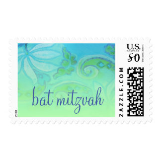 Bat Mitzvah Turquoise and Green Floral Postage