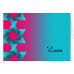 Bat Mitzvah Turquoise and Pink Ombre Star of David Card