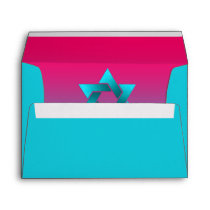 Bat Mitzvah Turquoise and Pink Ombre Star of David Envelope