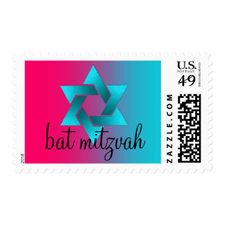 Bat Mitzvah Turquoise and Pink Ombre Star of David Postage Stamp
