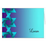 Bat Mitzvah Turquoise and Purple Star of David Card