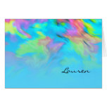 Bat Mitzvah Turquoise Blue Lime Pink Tye Dye Stationery Note Card