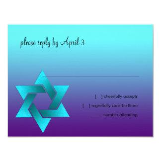 Bat Mitzvah Turquoise & Purple Star of David RSVP Card