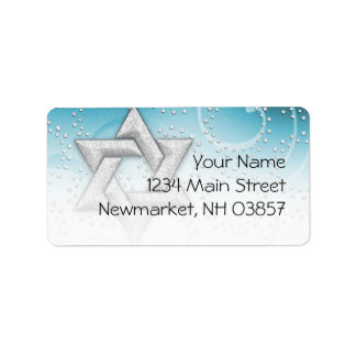 Bat Mitzvah Turquoise Shimmer Star of David Label