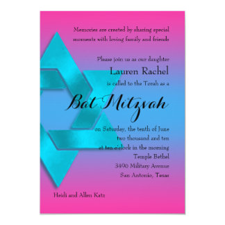 Bat Mitzvah Turquoise to Pink Ombre with Star Card