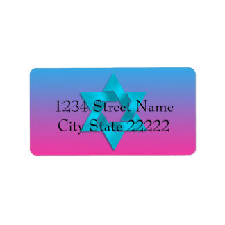 Bat Mitzvah Turquoise to Pink Ombre with Star Label