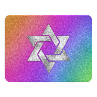 Bat Mitzvah Very Colorful Rainbow with Silver Star 4.25x5.5 Paper Invitation Card