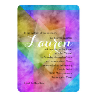 Bat Mitzvah Watercolor Vibrant Colorful Star Card