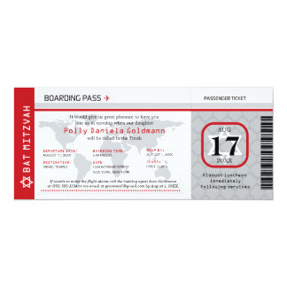 Bat Mitzvah World Traveler Boarding Pass Card