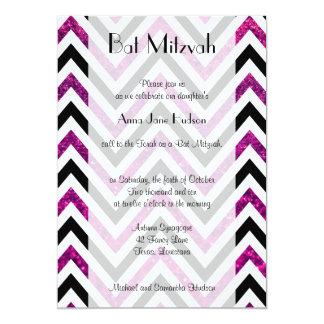 Bat Mitzvah - Zigzag (Chevron), Glitter - Pink Invitations