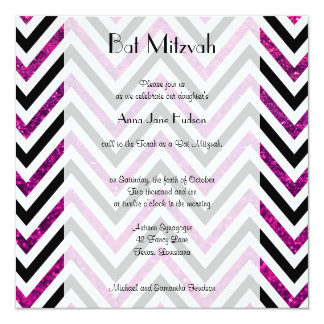 Bat Mitzvah - Zigzag (Chevron), Glitter - Pink Custom Announcement