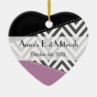 Bat Mitzvah - Zigzag, Chevron - Gray Purple Black Ceramic Ornament