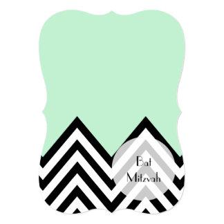 Bat Mitzvah - Zigzag, Chevron - Mint Green, Black Card