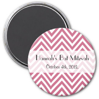 Bat Mitzvah - Zigzag Pattern, Chevron - Pink 3 Inch Round Magnet