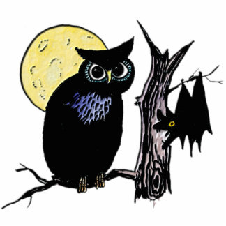 Bat Moon and Owl on Halloween Cutout