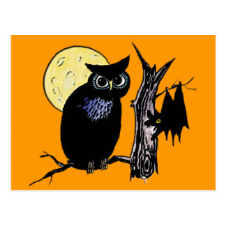 Bat Moon and Owl on Halloween Postcard