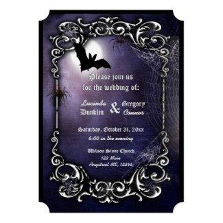Cheap Halloween Wedding Invitations Dark Blue with Bat, Moon, Spiders