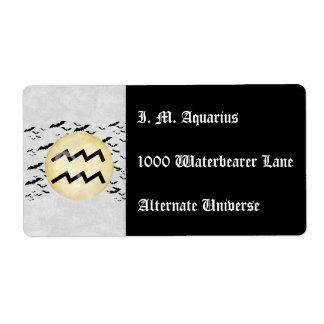Bat Moon Aquarius Label