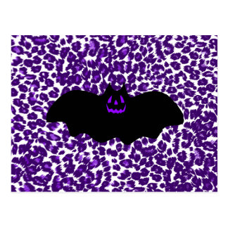 Bat on a Purple Leopard Spot Background Post Card