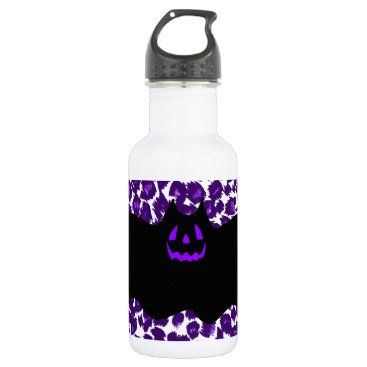 Halloween Themed Bat on a Purple Leopard Spot Background Stainless Steel Water Bottle
