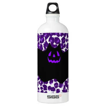 Halloween Themed Bat on a Purple Leopard Spot Background Water Bottle