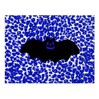 Bat on Blue Leopard Print Background Post Card