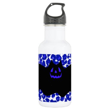 Halloween Themed Bat on Blue Leopard Print Background Stainless Steel Water Bottle