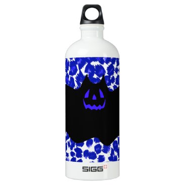 Halloween Themed Bat on Blue Leopard Print Background Water Bottle