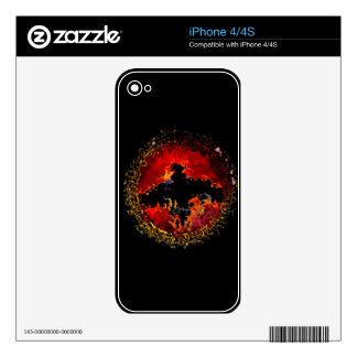 Bat on Fire Art Skin For iPhone 4S