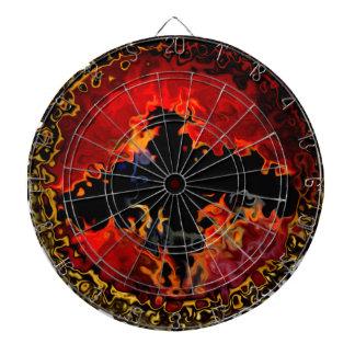Bat on Fire Digital Art Dartboard