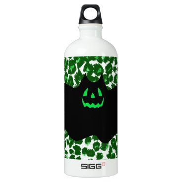 Halloween Themed Bat On Green Leopard Spots Aluminum Water Bottle
